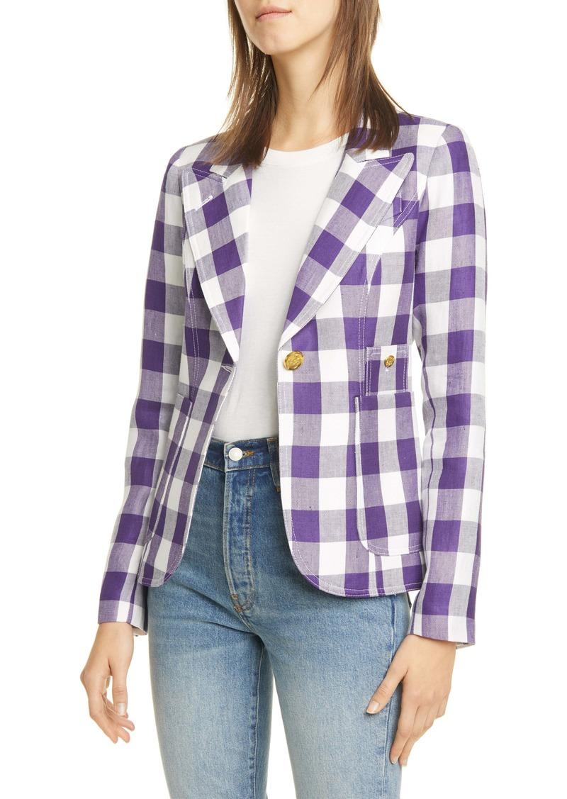 Smythe Duchess Check Linen Blend Blazer