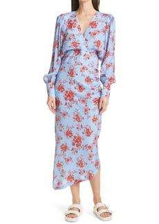Smythe Floral Long Sleeve Asymmetric Dress