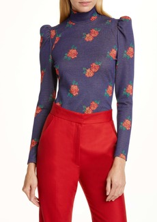 Smythe Floral Puff Sleeve Knit Top