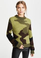 SMYTHE Hand Knit Camo Intarsia Sweater