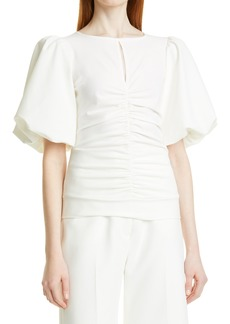 Smythe Ruched Puff Sleeve Top