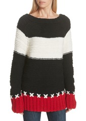 Smythe Stripe Cross Stitched Alpaca Blend Sweater