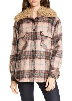 Smythe Workwear Plaid Faux Shearling Trim Jacket