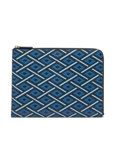 Smythson Panama geometric-print grained-leather pouch