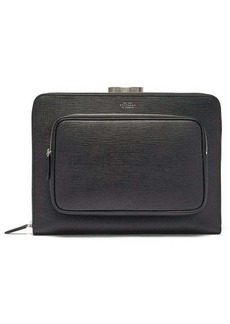 Smythson Panama grained-leather pouch