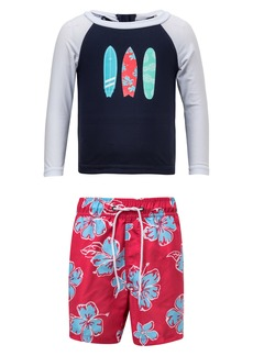 Snapper Rock Hibiscus Two-Piece Rashguard Swimsuit (Baby)