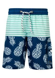 Snapper Rock Pineapple Mint Stripe Swim Trunks (Toddler Boys, Little Boys & Big Boys)