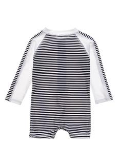 Snapper Rock Sunset Nautical Stripe One-Piece Rashguard Swimsuit (Baby)