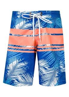Snapper Rock Tropical Neon Stripe Board Shorts (Big Boys)