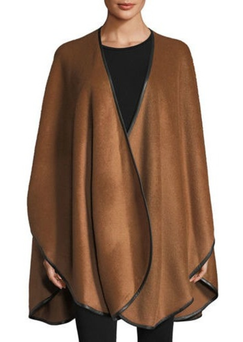 Sofia Cashmere Baby Alpaca Cape w/ Leather Trim