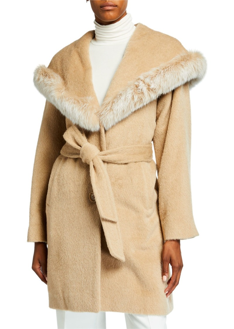 Sofia Cashmere Belted Fox Fur-Trim Hooded Coat