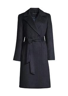 Sofia Cashmere Belted Notch Lapel Wrap Coat