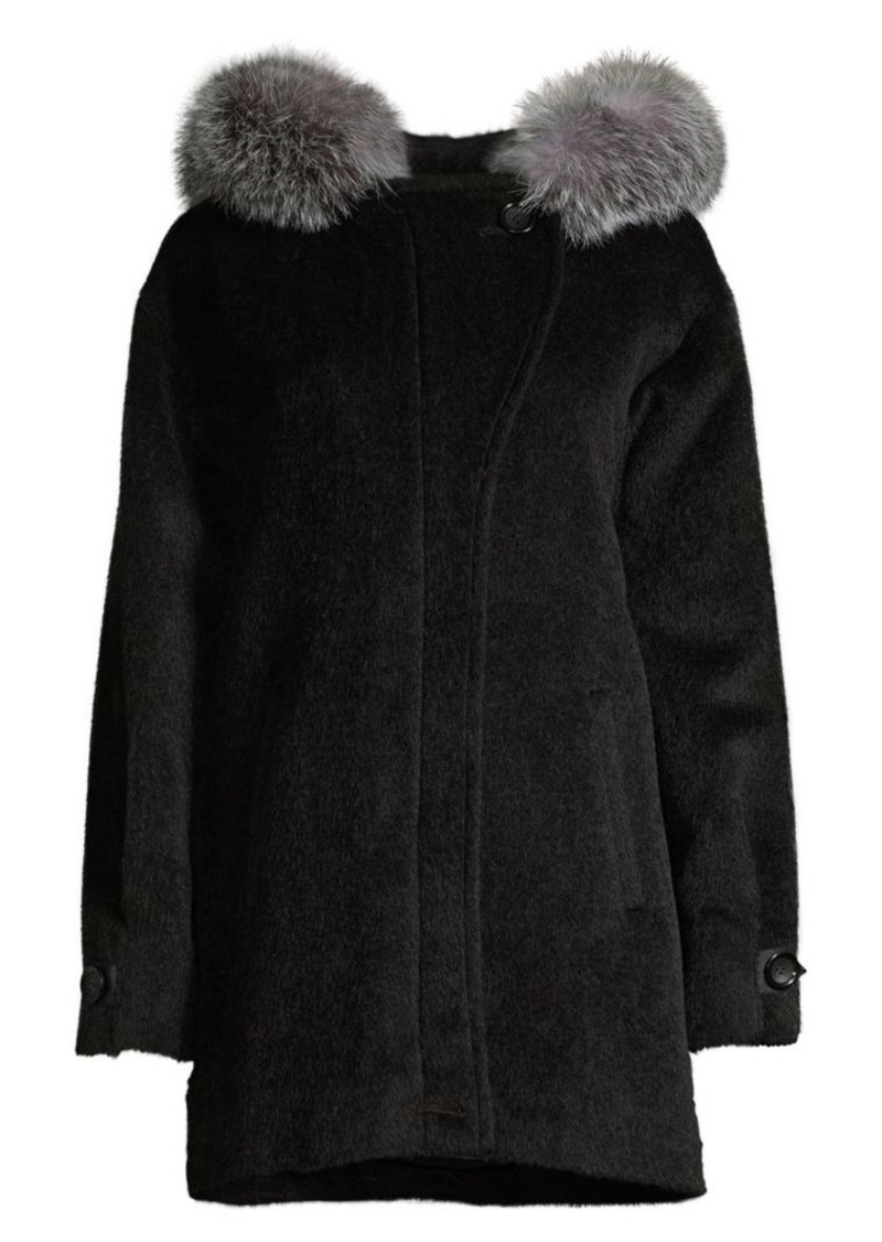 Sofia Cashmere Boston Fox Fur-Trim Alpaca & Wool-Blend Parka