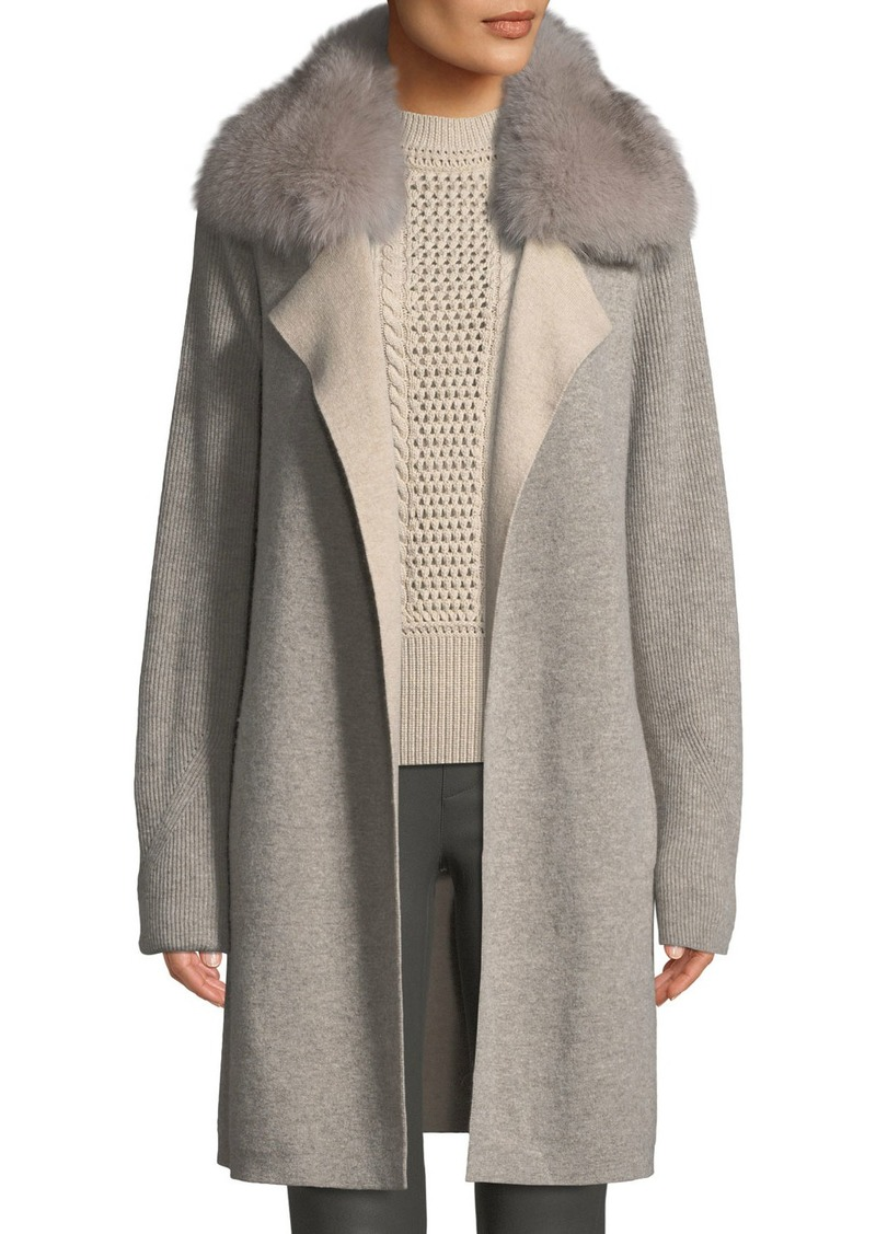 Sofia Cashmere Cashmere Double-Face Coat w/ Fur Collar