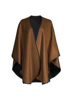Sofia Cashmere Cashmere Leather-Trim Reversible Cashmere Cape