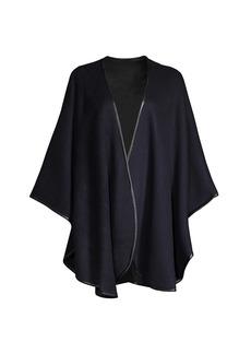 Sofia Cashmere Cashmere Leather Trim Reversible Cape