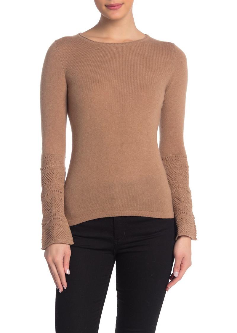 Sofia Cashmere Cashmere Patterned Knit Crew Neck Sweater