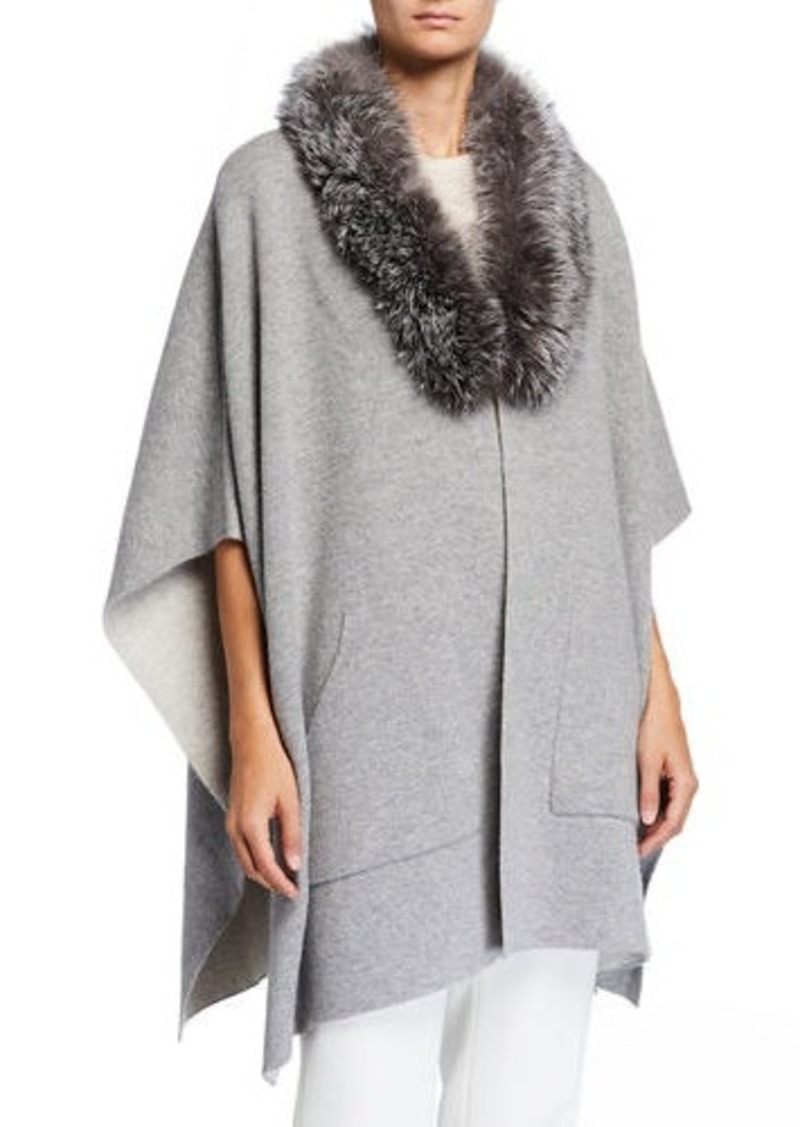 Sofia Cashmere Double-Face Cashmere Cape w/ Fur Collar