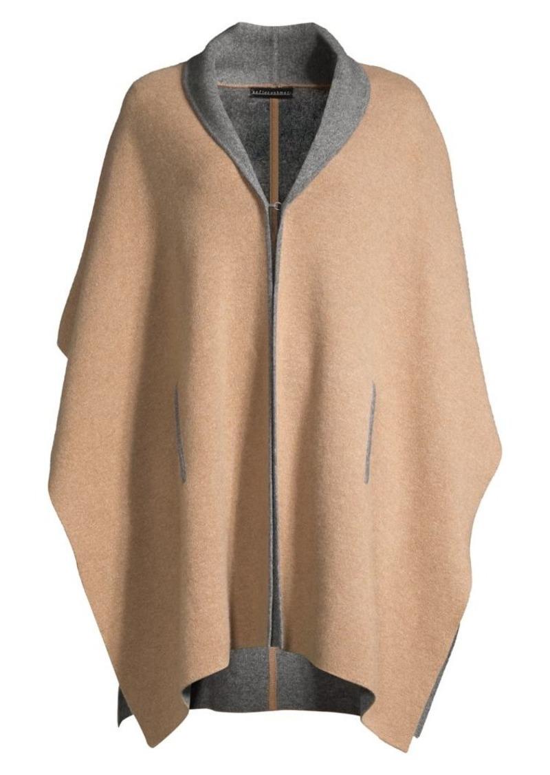 Sofia Cashmere Doubleface Cashmere Shawl Collar Knit Cape
