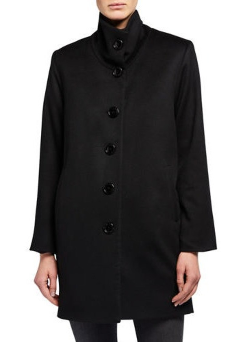 Sofia Cashmere Drop-Shoulder Single Breasted Pea Coat