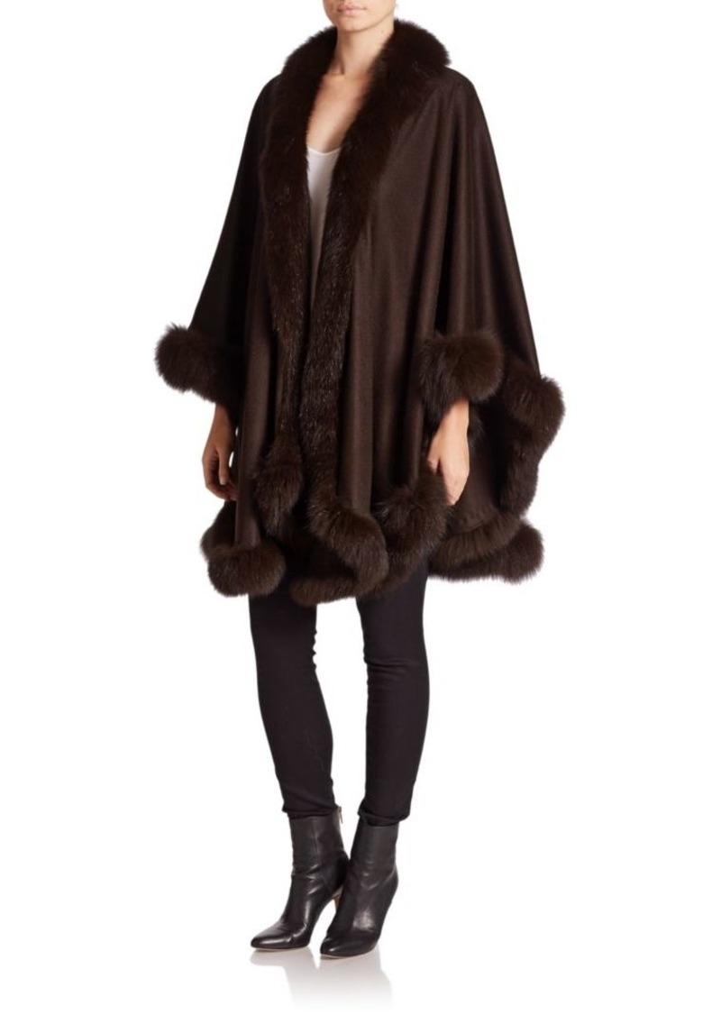 Sofia Cashmere Dyed Fox Fur-Trim Cashmere Wrap