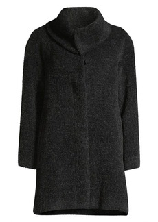 Sofia Cashmere Fly Front Raglan-Sleeve Foldover Wool & Alpaca-Blend Coat