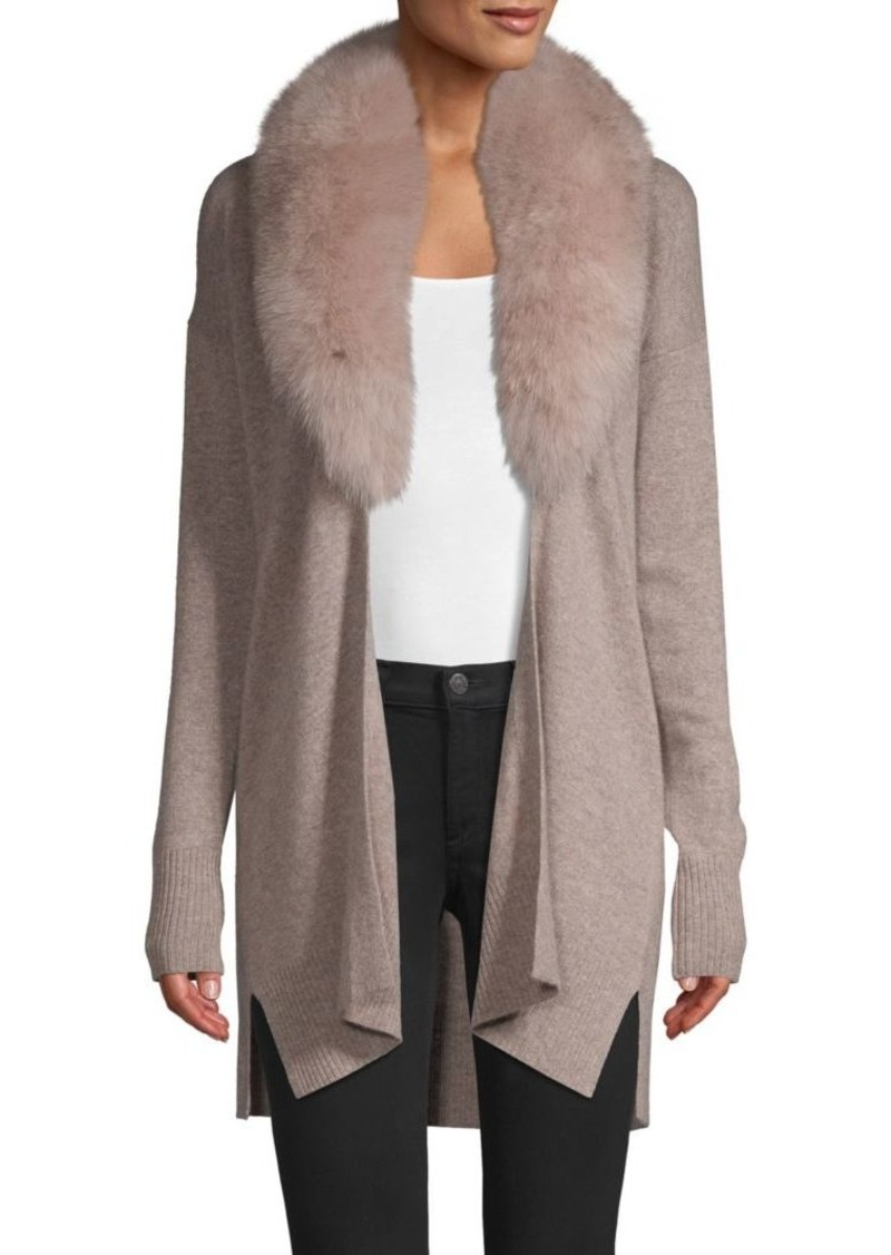 Sofia Cashmere Fox Fur Collar Cashmere Topper