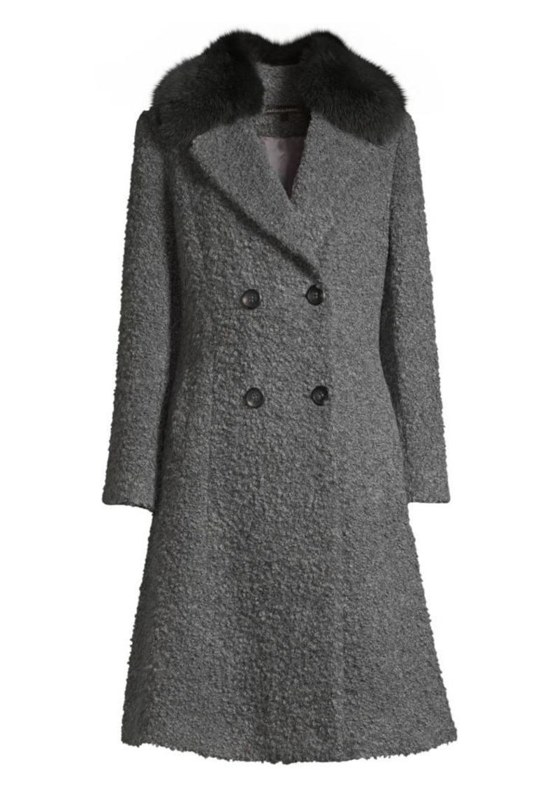 Sofia Cashmere Fox Fur Collar Princess Seam Coat