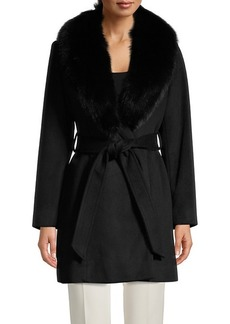 Sofia Cashmere Fox Fur-Collar Wool-Blend Coat