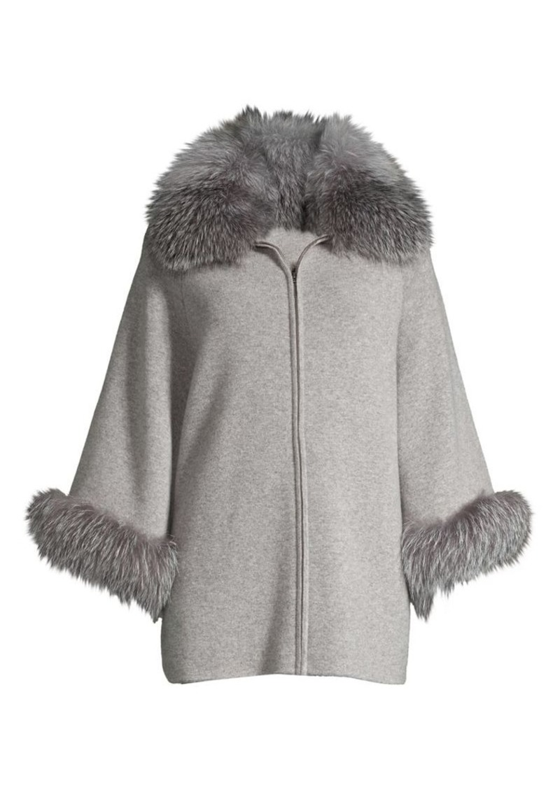 Sofia Cashmere Fox Fur-Cuff & Collar Cashmere Coat