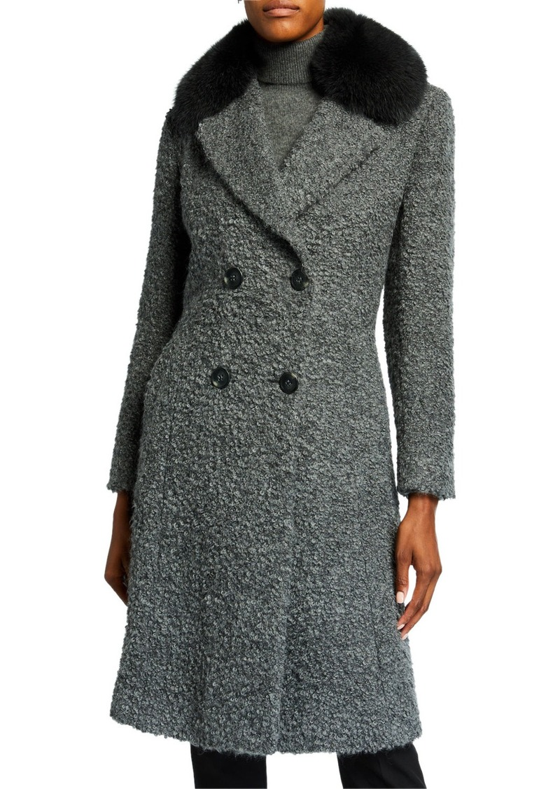 Sofia Cashmere Fox Fur-Lapel Princess Coat