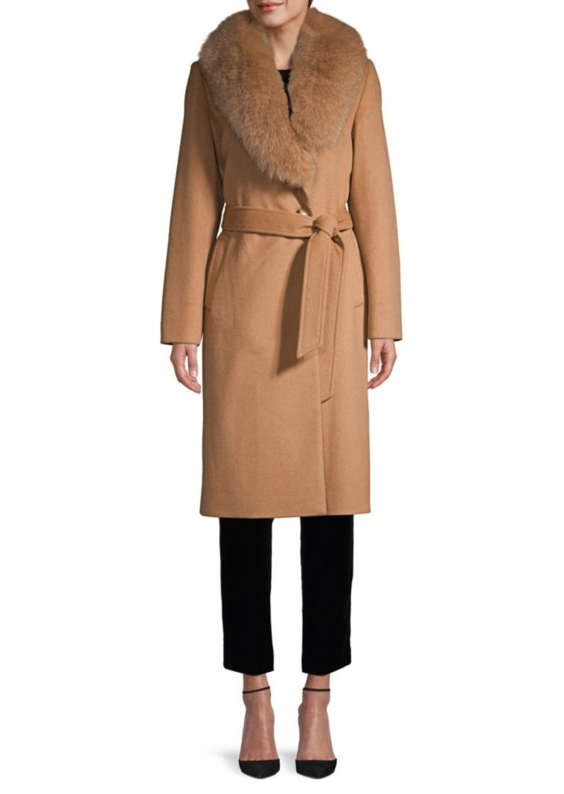Sofia Cashmere Fox Fur Shawl-Collar Wool-Blend Wrap Coat