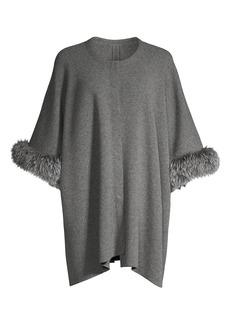 Sofia Cashmere Fox-Fur Trim Cashmere Poncho Jacket