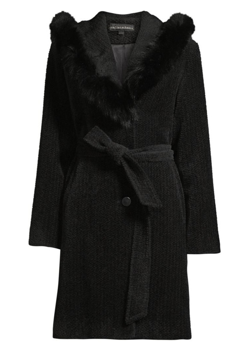 Sofia Cashmere Fox Fur Trim Coat