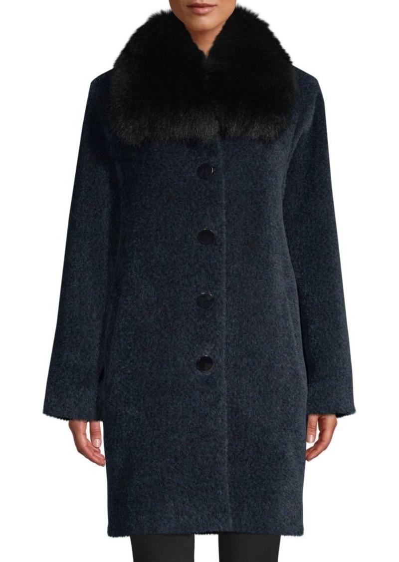 Sofia Cashmere Fox Fur-Trim Wool & Alpaca Boucle-Blend Coat