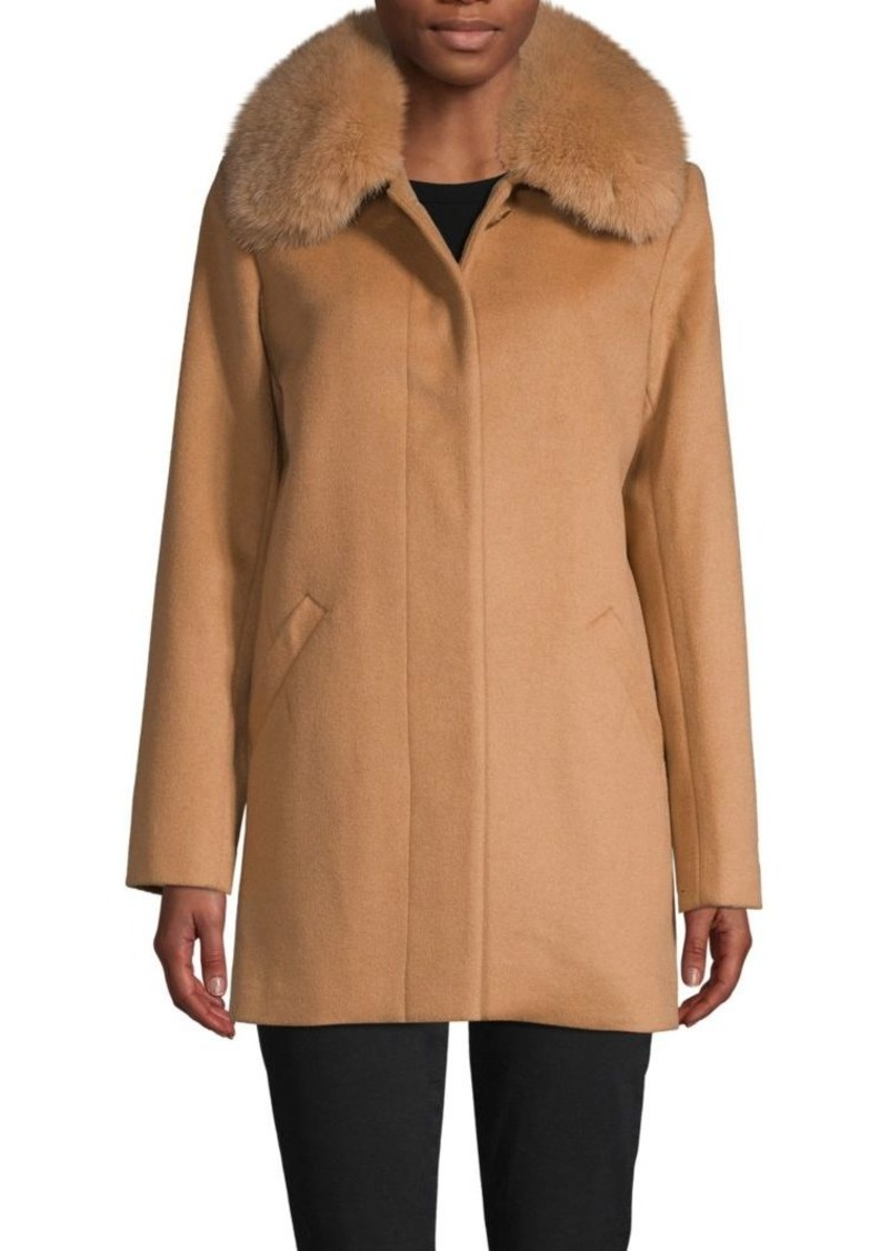 Sofia Cashmere Fox Fur Trim Wool-Blend Car Coat