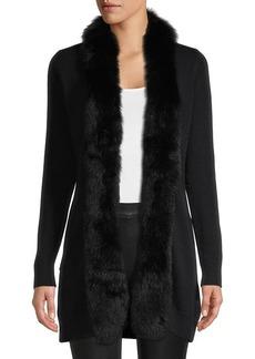 Sofia Cashmere Fox Fur-Trimmed Cashmere Cardigan Sweater