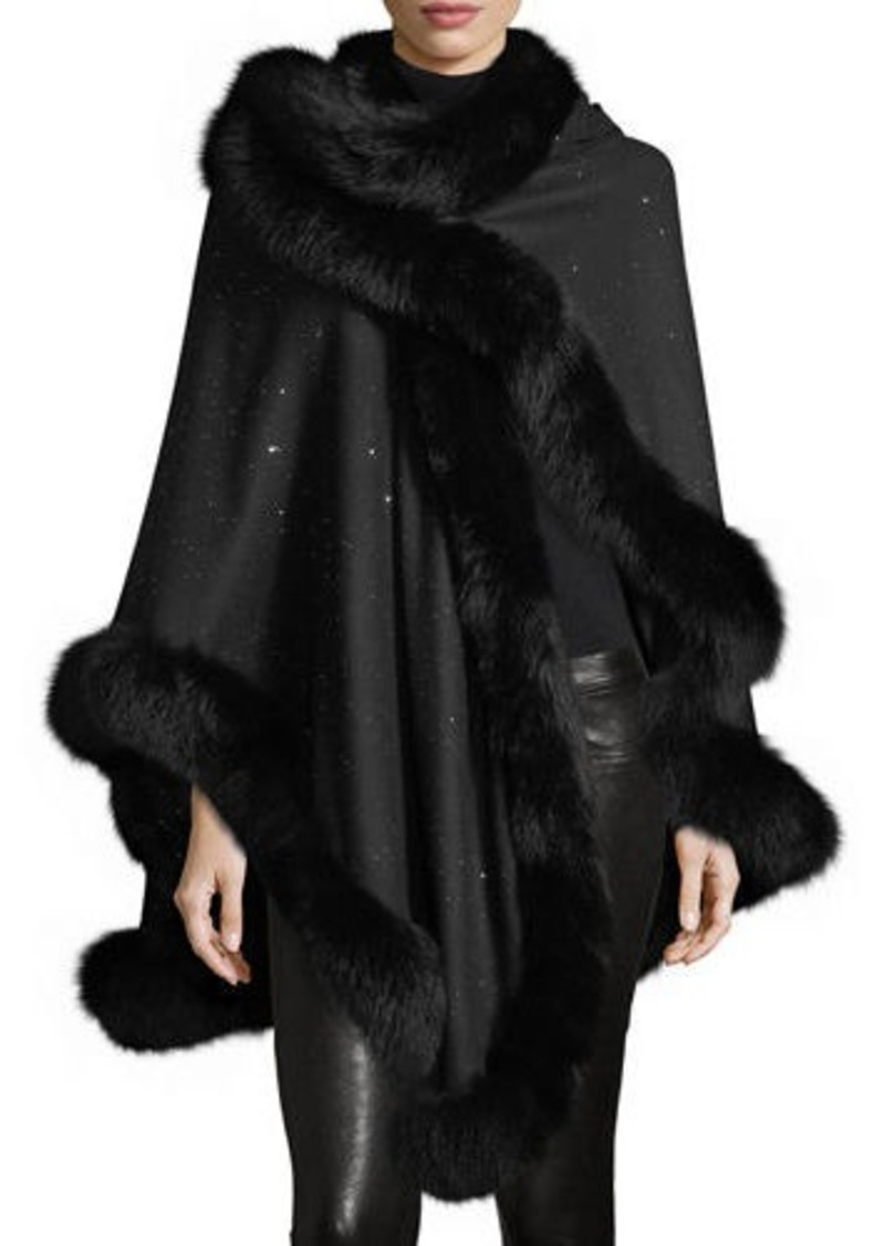 Sofia Cashmere Fox Fur-Trimmed Cashmere Sequin U-Cape