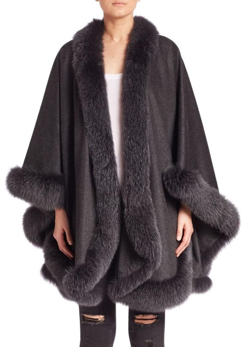 Sofia Cashmere Dyed Fox Fur-Trim Cashmere Wrap