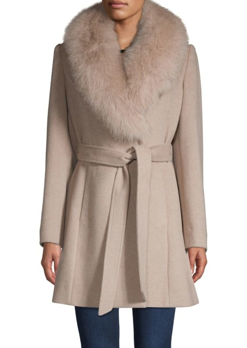 Sofia Cashmere Fox Fur-Trim Tie-Waist Coat