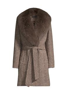 Sofia Cashmere Fur Collar Belted Jacket