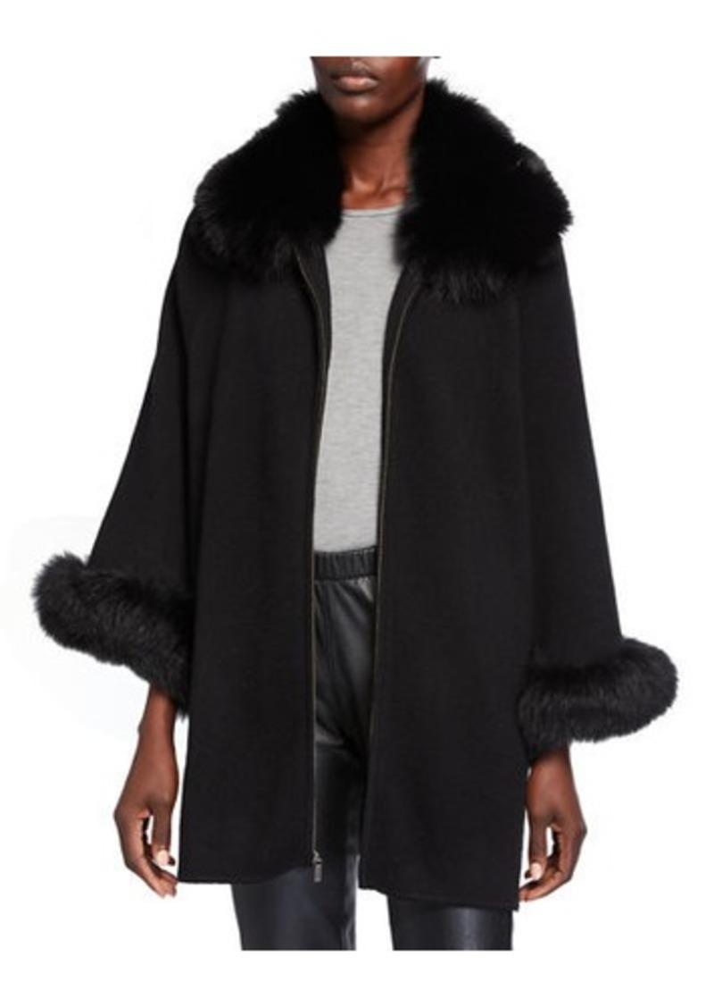 Sofia Cashmere Fur Trim Cashmere Cape