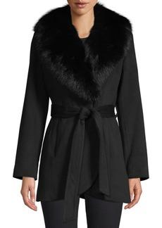 Sofia Cashmere Fur-Trim Wool & Cashmere Wrap Coat