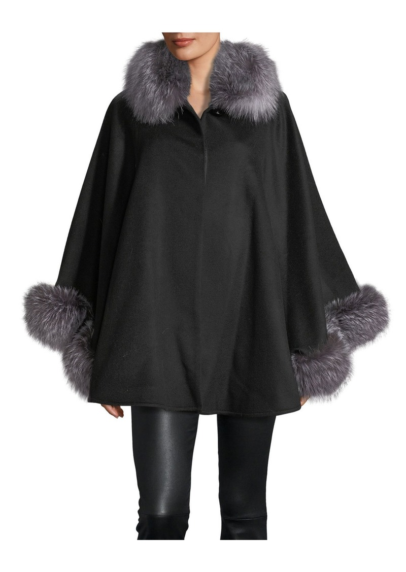 Sofia Cashmere Fur-Trim Wool-Blend Cape