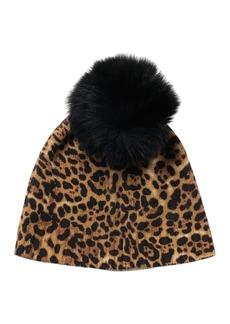 Sofia Cashmere Genuine Dyed Fox Fur Pompom Leopard Print Cashmere Beanie
