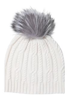 Sofia Cashmere Genuine Fox Fur Pompom Wool & Cashmere Cable Knit Beanie