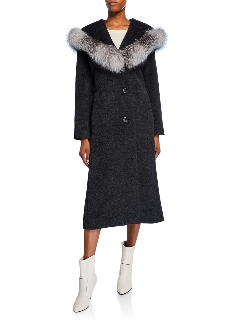 Sofia Cashmere Hooded Fox Fur-Trim Princess Coat