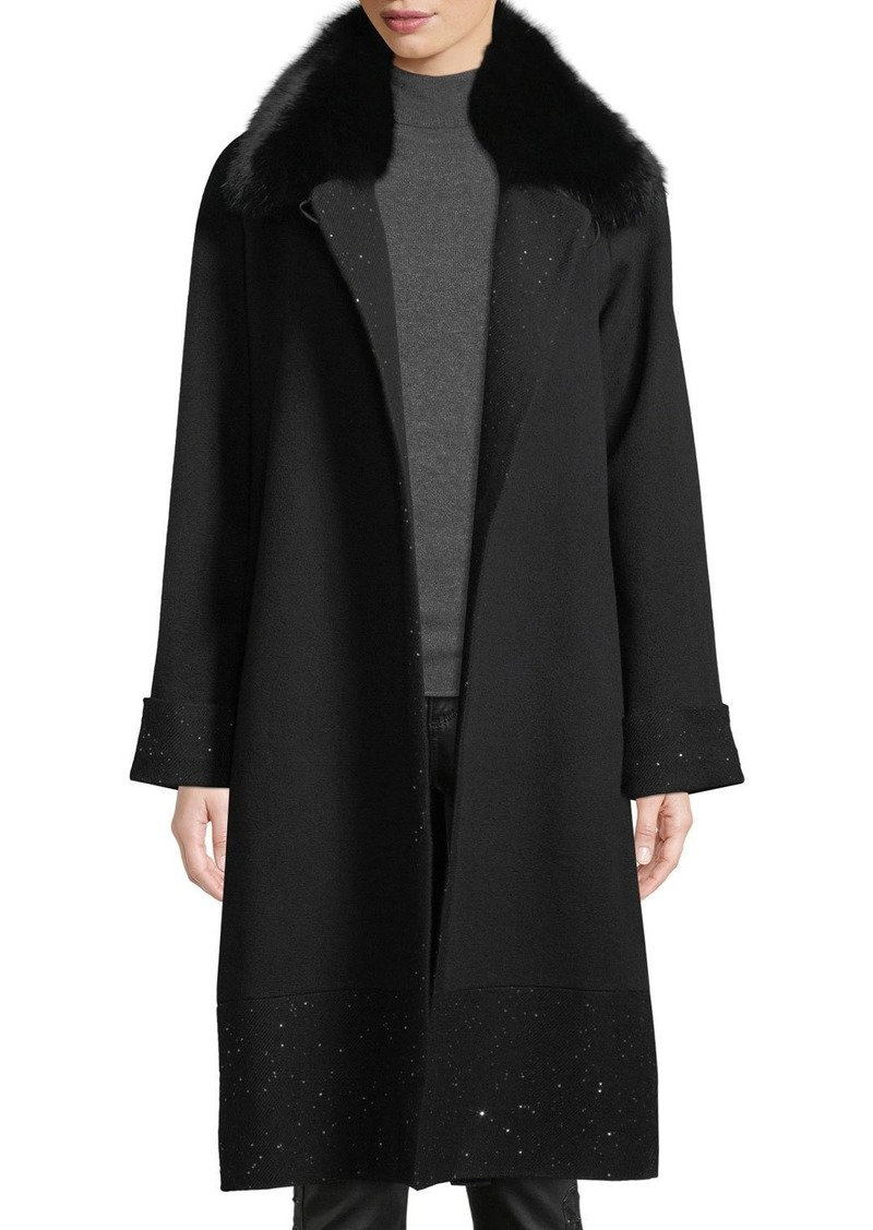 Sofia Cashmere Long Sequin Coat w/ Fur Collar
