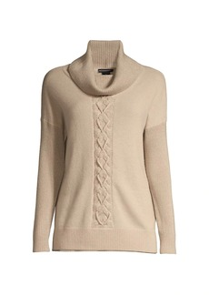 Sofia Cashmere Lurex Cable Knit Cashmere Sweater