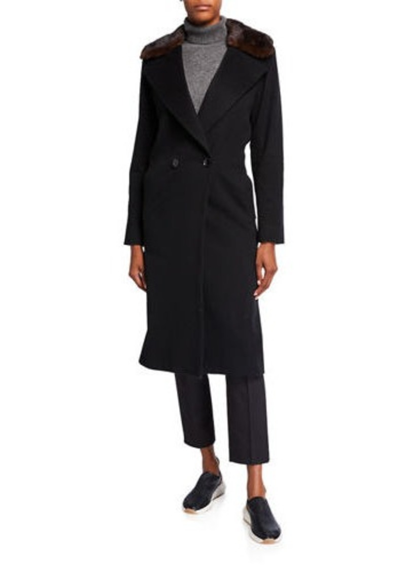 Sofia Cashmere Mink Collar 2-Button Wool-Blend Coat